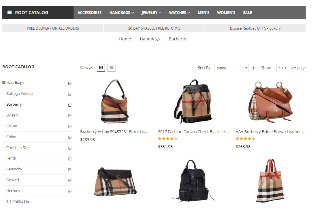 Burberry bags clone price list